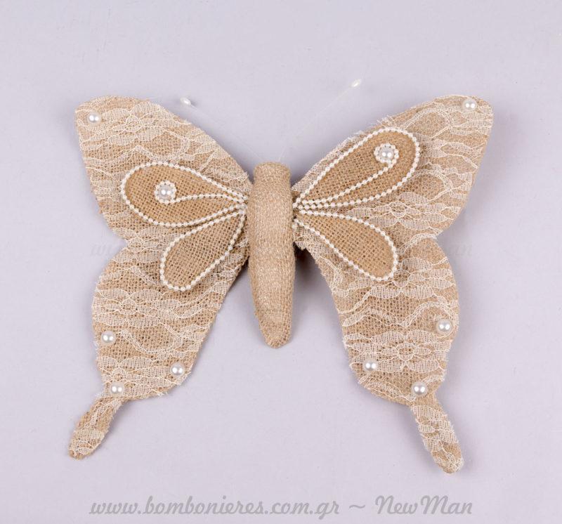 Πεταλούδα λινό με δαντέλα & κλιπ