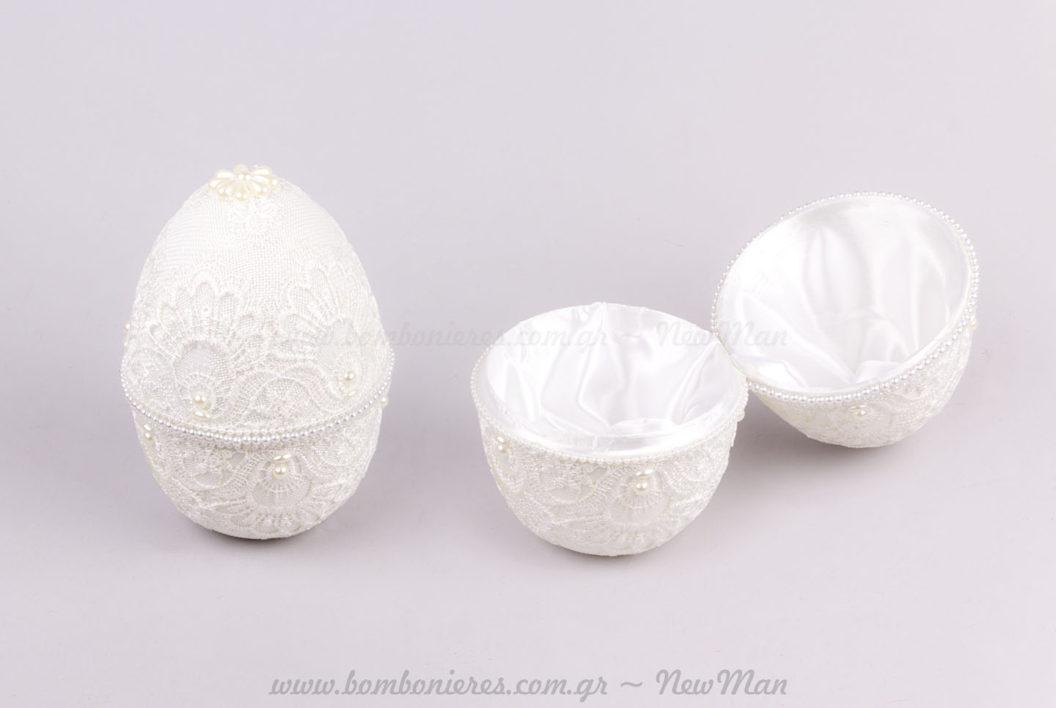 Αυγό κουτί δαντέλα λευκό
