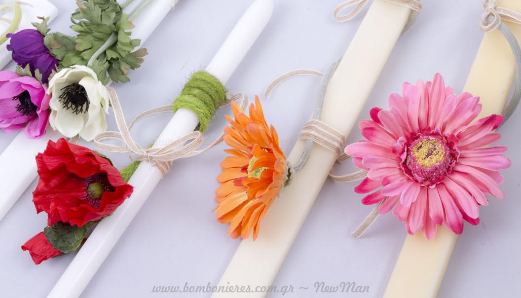 Λουλουδάτες λαμπάδες Πάσχα 2016