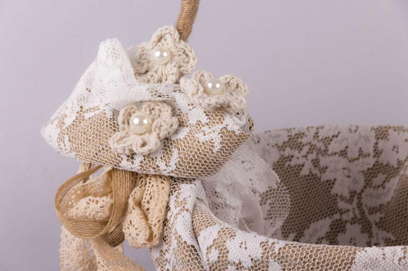 Λεπτομέρεια στολισμού στο καλάθι με λουλούδια και πέρλες