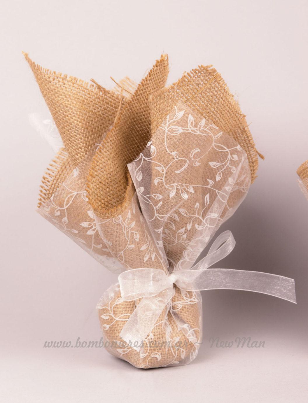 Μπομπονιέρα λινάτσα & ύφασμα με φύλλα