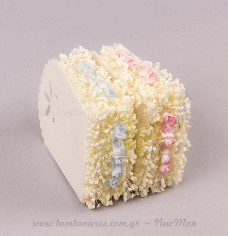 Τούρτα μπομπονιέρα με λουλουδάκια