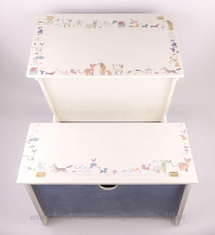 Ξύλινο κουτί Βάπτισης παιδικό γραφείο