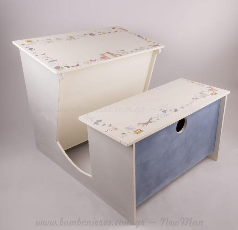 Ξύλινο παιδικό γραφείο κουτί Βάπτισης