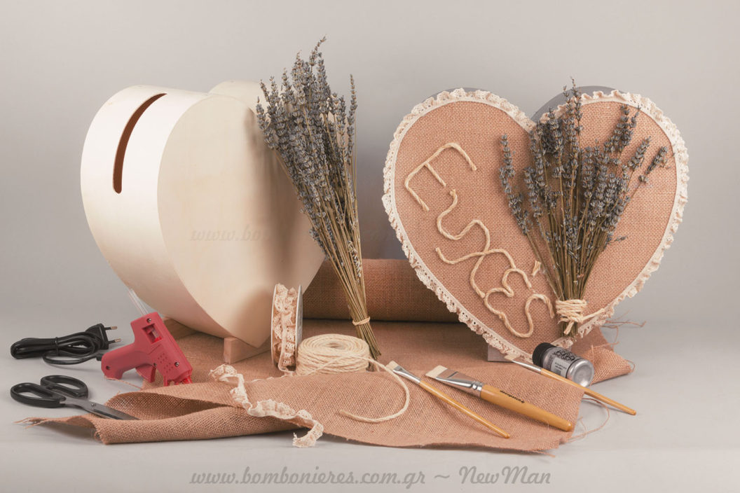 Κουτί καρδιά για ευχές με λεβάντα φυσική αποξηραμένη