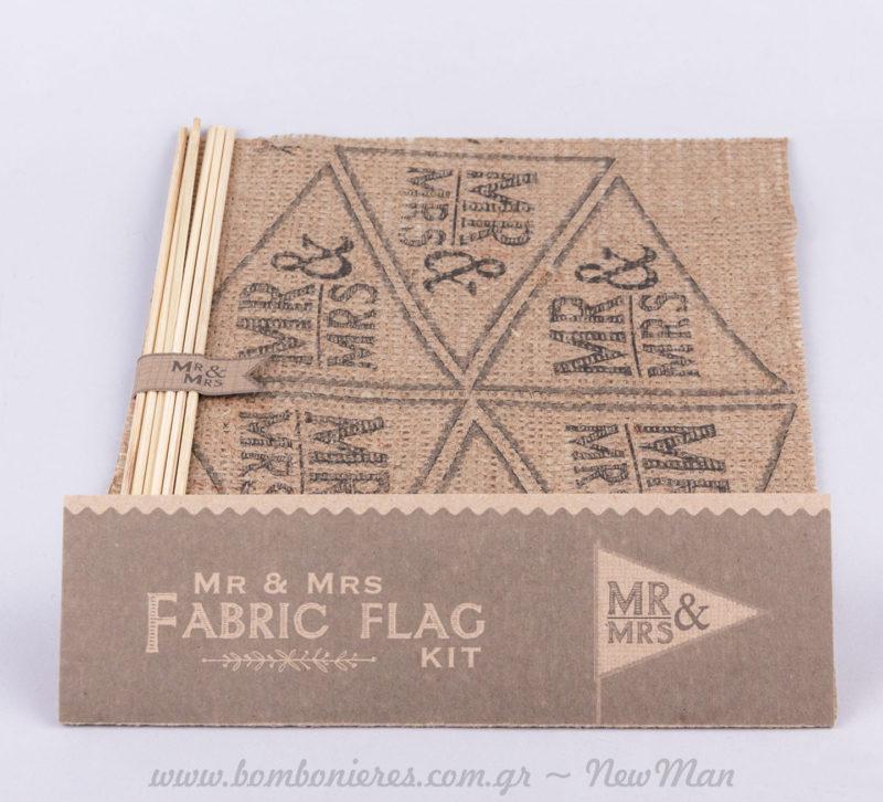 Kit DIY λινάτσα σημαιάκια MR&MRS