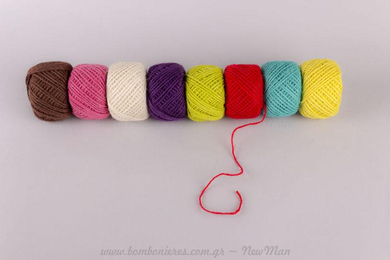 Κορδόνι χρωματιστό γιούτα 50μετρο