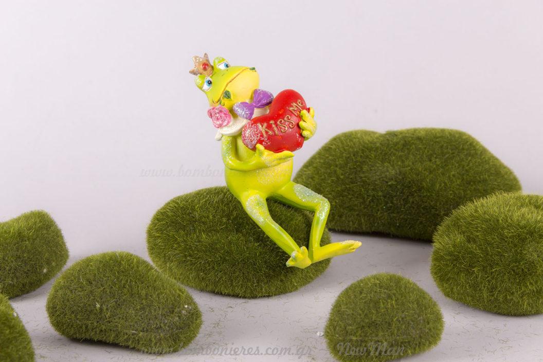 """Βατραχάκι Πρίγκιπας με καρδιά """"Kiss me"""""""