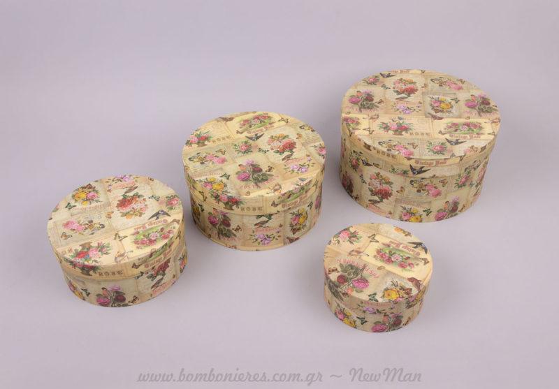 4 κουτιά στρογγυλά με λουλούδια