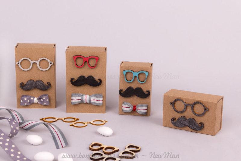Μπομπονιέρες με γυαλιά, μουστάκι & παπιγιόν