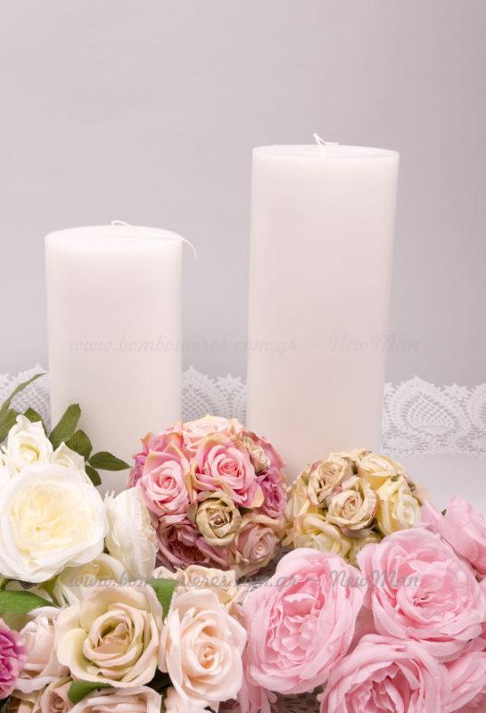 Απλό Κερί χρώμα λευκό σε 2 μεγέθη