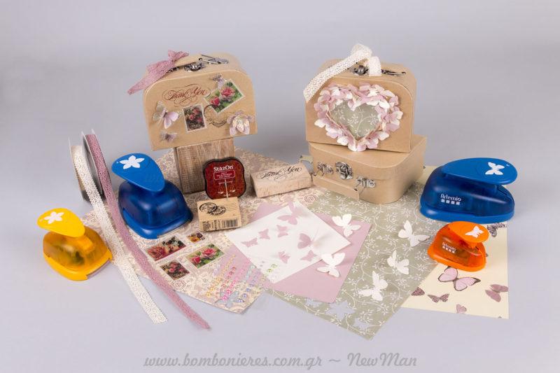 Βαλιτσάκια κουτιά οικολογικά στολισμένα με υλικά NewMan