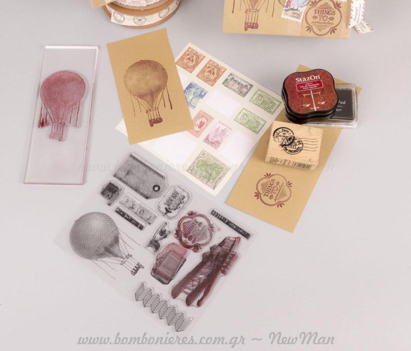 Υλικά σφραγίδες αερόστατο, ταξίδι και άλλα