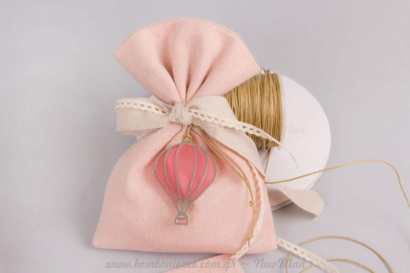 Μπομπονιέρα αερόστατο κοριτσάκι