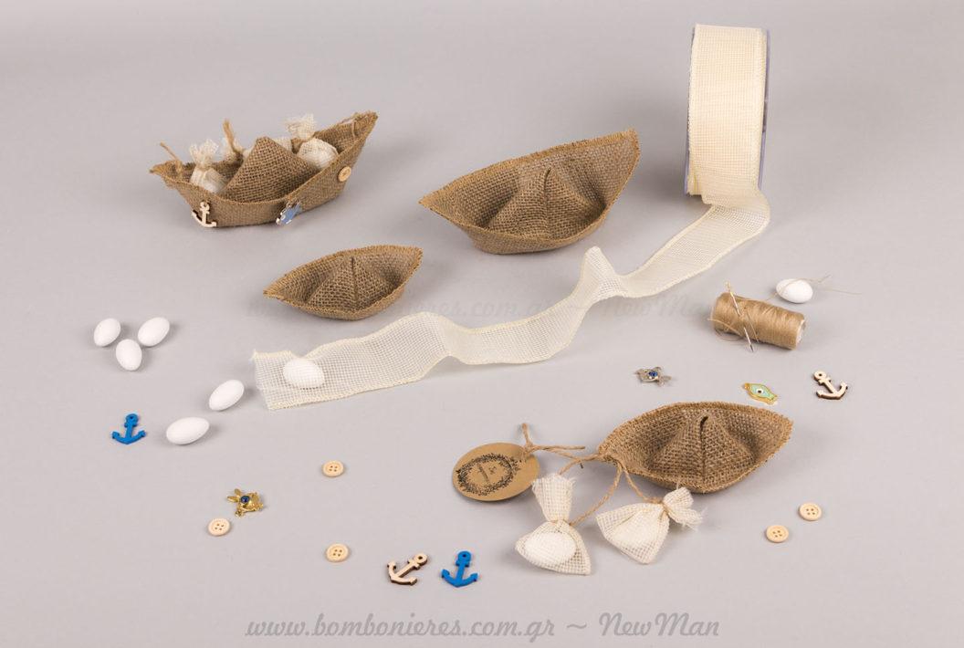 Υλικά μπομπονιέρας καραβάκι λινάτσα
