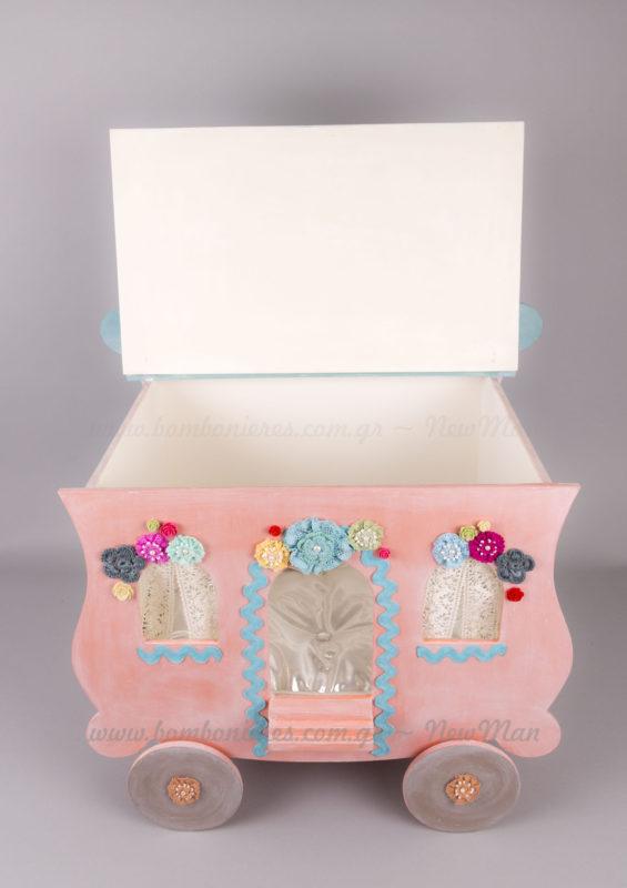 Ξύλινο βαπτιστικό κουτί ΒΟΗΟ τροχόσπιτο