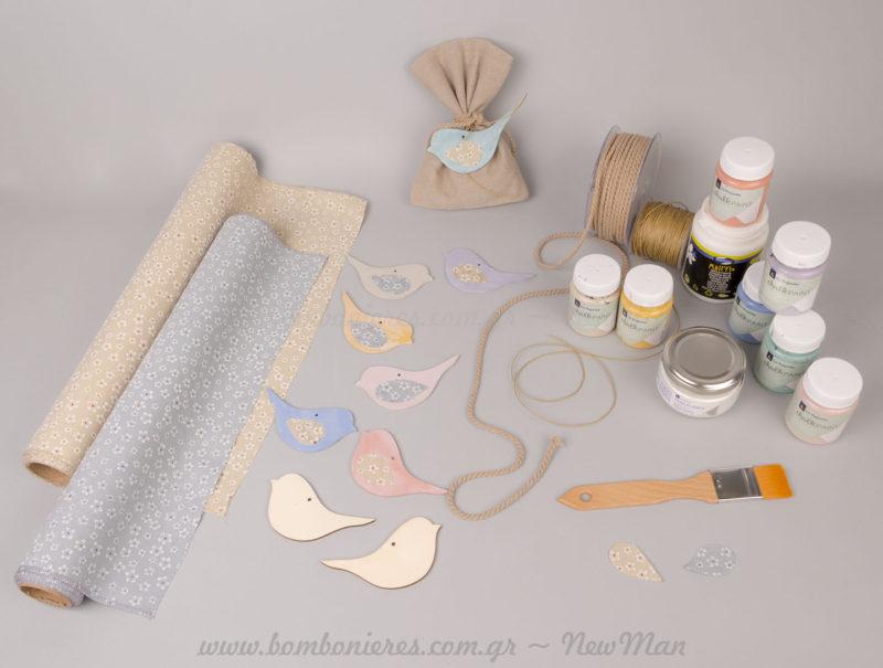 Υλικά χειροτεχνίας για δημιουργίες μπομπονιέρας