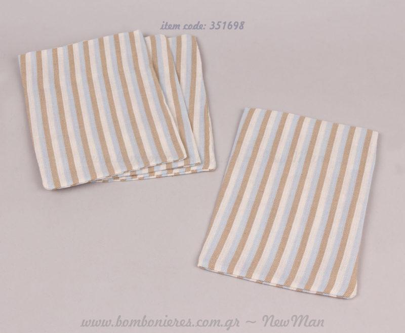 Πουγκί λινό ριγέ σιελ-λευκό-καφέ
