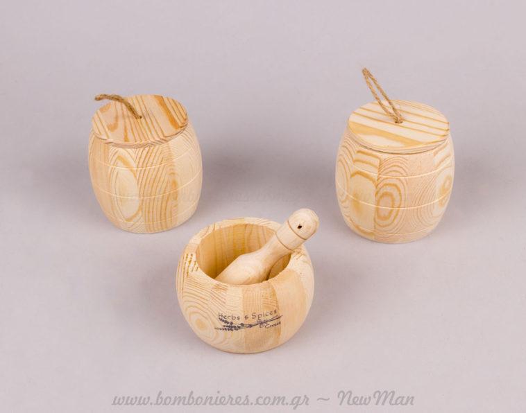 Κουτί ξύλινο με καπάκι & γουδί μινιατούρα Herbs & Spices