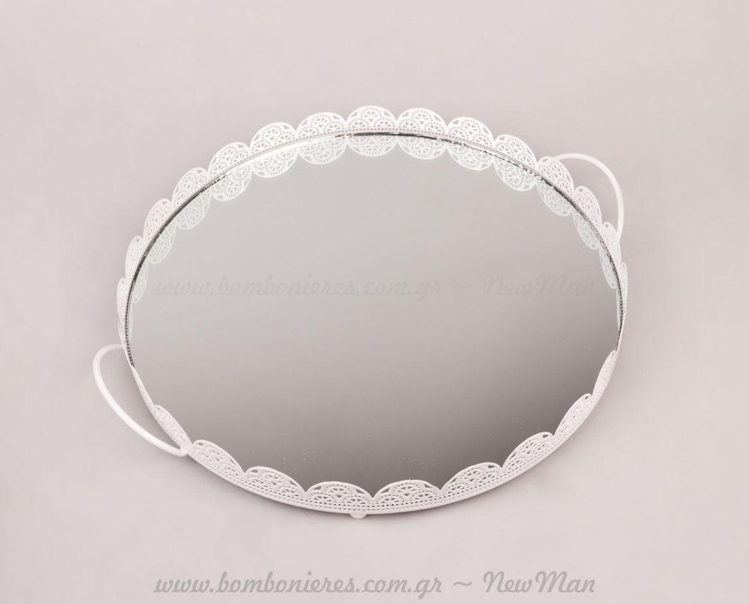 237005 - Δίσκος μεταλλικός λευκός με καθρέφτη