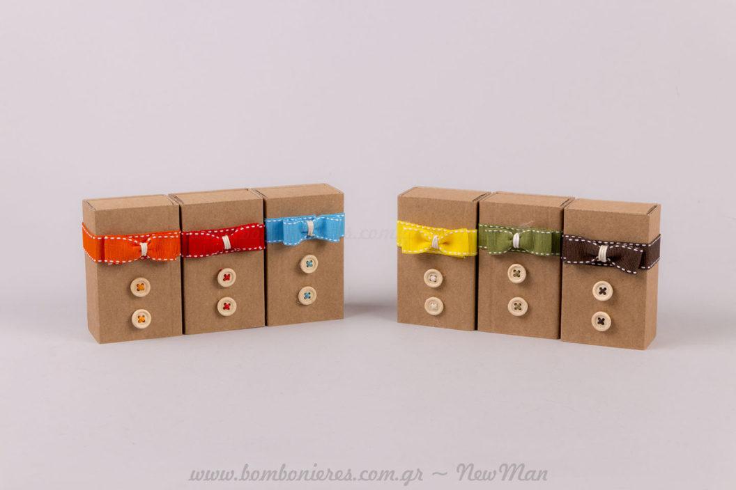Μπομπονιέρες με κουμπάκια και κορδέλες NewMan