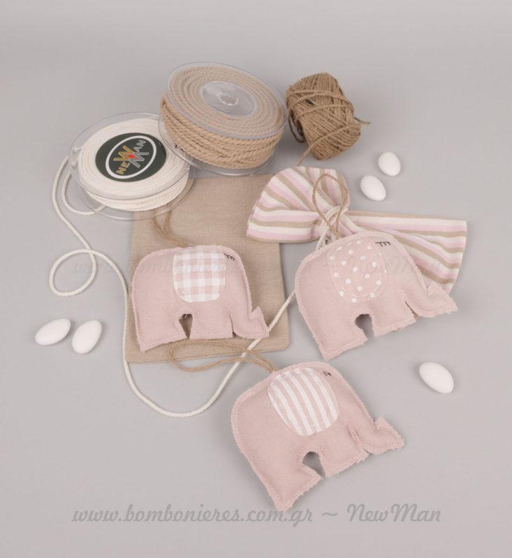 Υλικά μπομπονιέρας παιδικός ροζ ελέφαντας