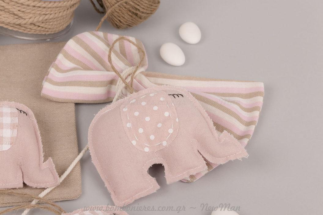 Μπομπονιέρα ροζ ελεφαντάκι