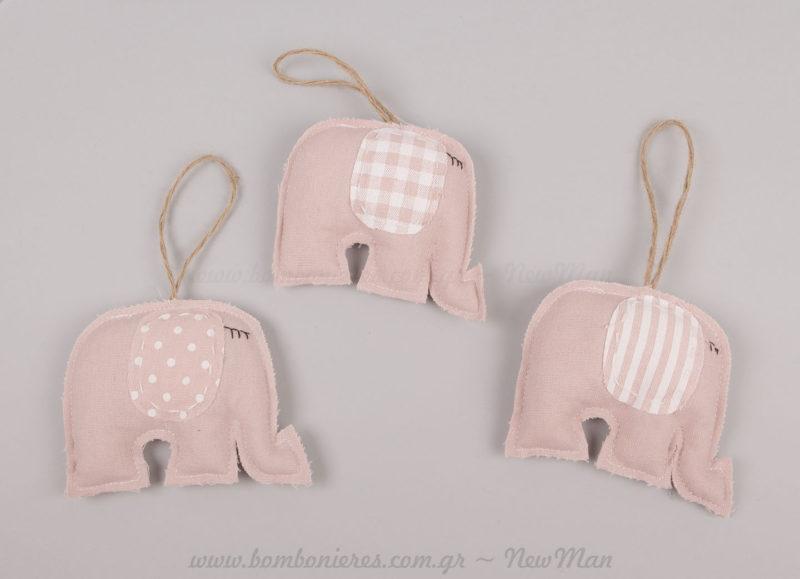 Ροζ ελέφαντες κρεμαστά στολίδια πάνινα