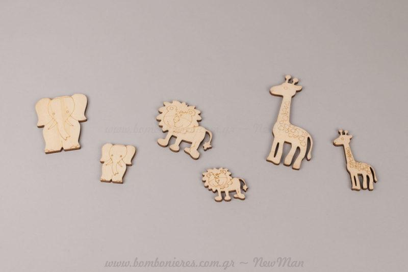 Ξύλινα διακοσμητικά ελέφαντας, λιοντάρι, καμηλοπάρδαλη