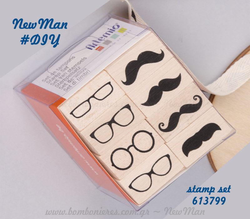 613799 - Σετ σφραγίδες μουστάκια & γυαλιά