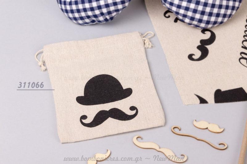 311066 - Πουγκί με καπέλο και μουστάκι