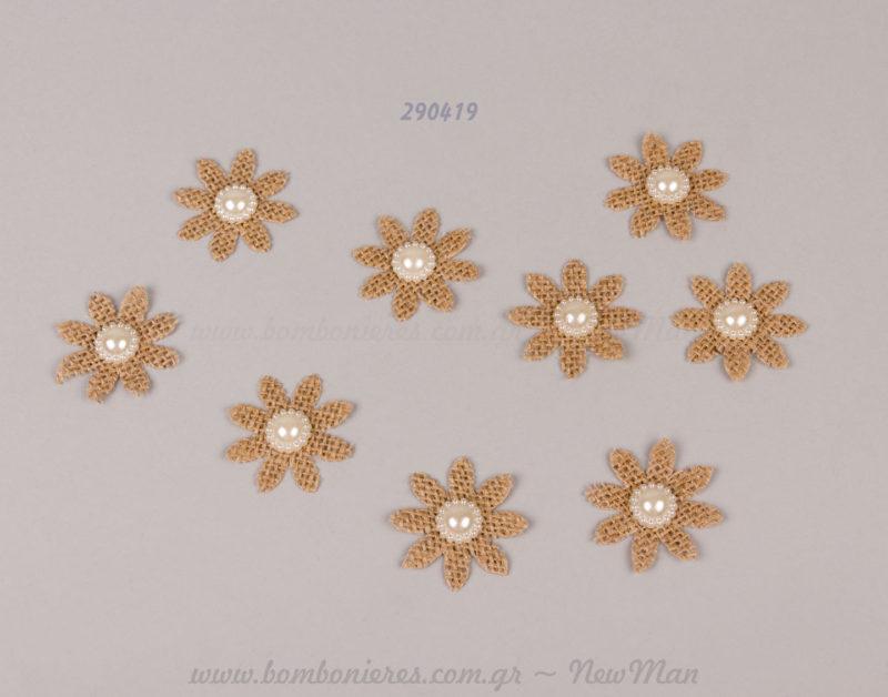 290419 - λουλούδι με λινάτσα και πέρλα