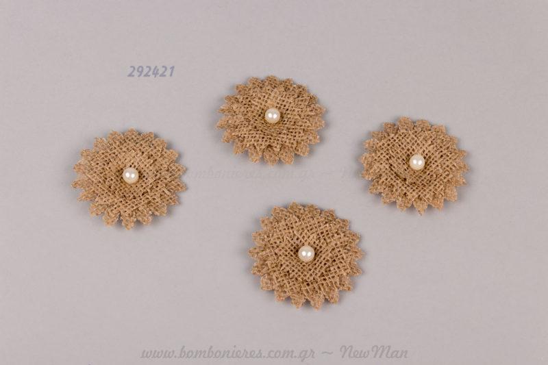 290421 - λουλούδι με λινάτσα και πέρλα