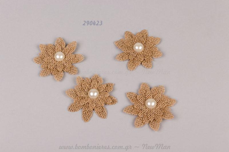 290423 - λουλούδι με λινάτσα και πέρλα
