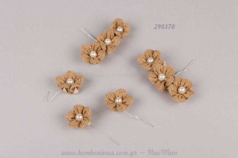 290370 - λουλούδι με λινάτσα, πέρλα & συρματάκι