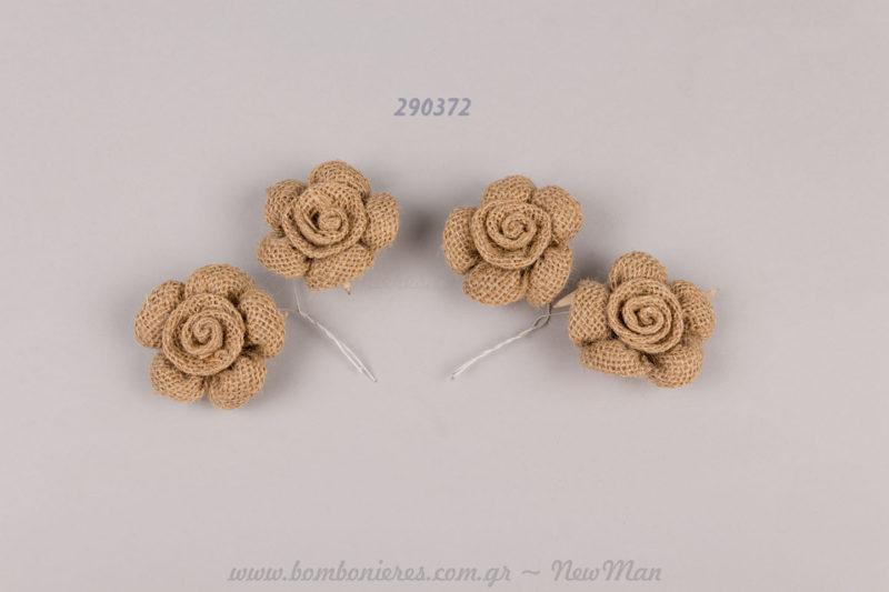 290372 - λουλούδι με λινάτσα & συρματάκι