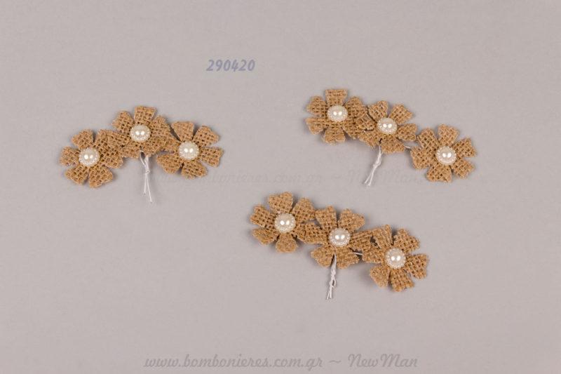 290420 - λουλούδι με λινάτσα, πέρλα & συρματάκι