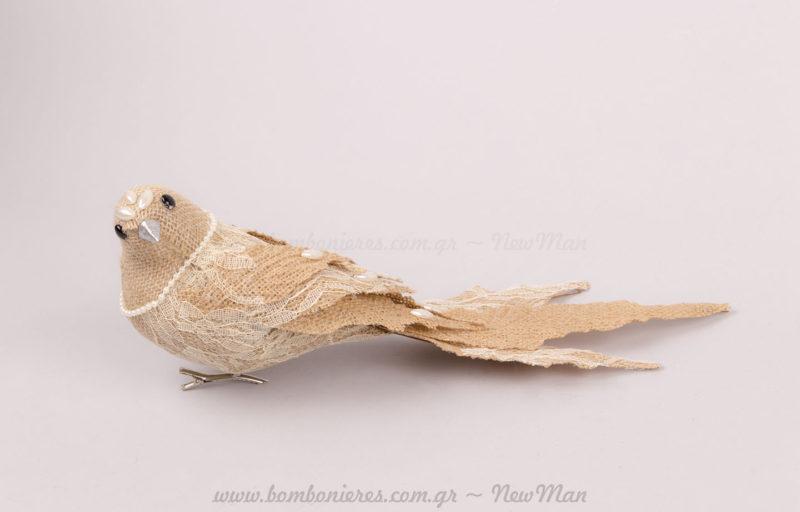Λινάτσα πουλί δαντέλα με κλιπ