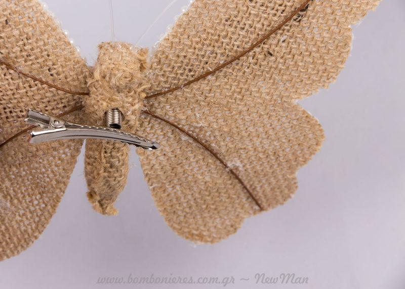 Λινάτσα πεταλούδα δαντέλα με κλιπ