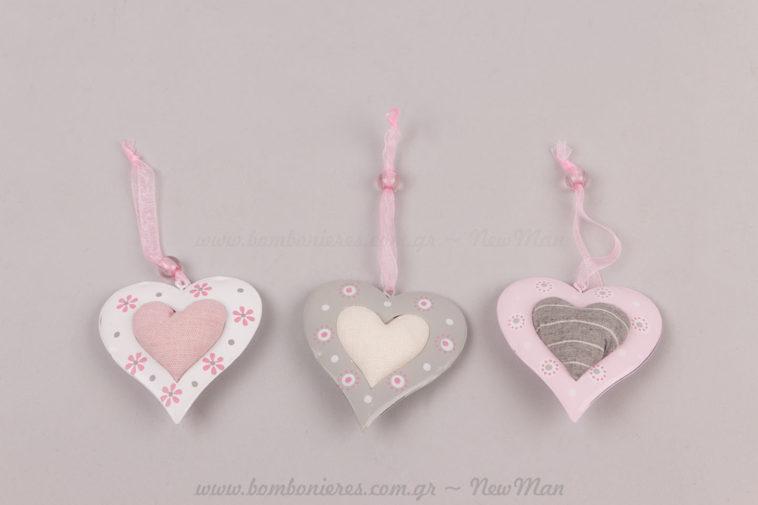 Καρδιές σετ 3 κρεμαστές
