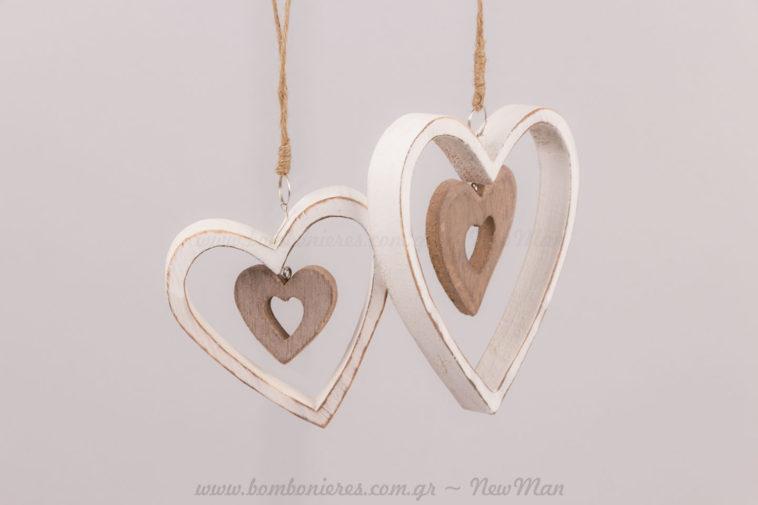Καρδιές κρεμαστές διπλές λευκό-καφέ