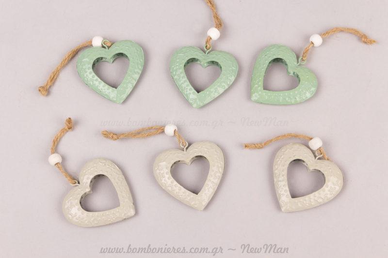 Καρδιές μεταλλικές σε 2 χρώματα