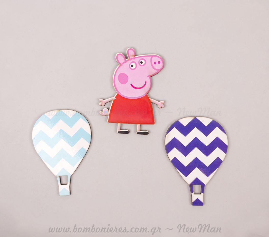 Ξύλινες φιγούρες αερόστατα & Πέπα γουρουνίτσα!