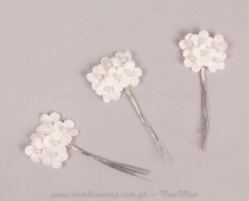 232084 Λουλούδι υφασμάτινο με πέρλα
