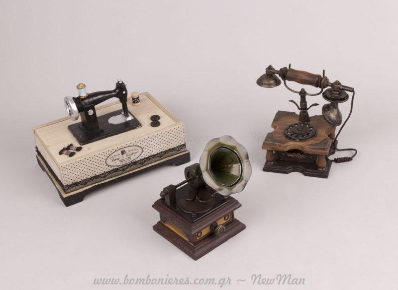 Διακοσμητικά vintage Ραπτομηχανή, Τηλέφωνο, Γραμμόφωνο