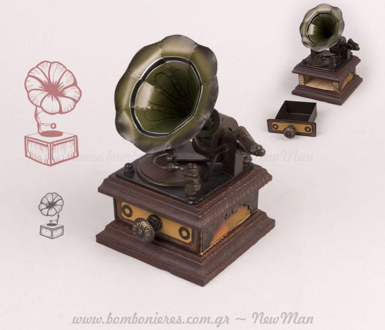 Γραμμόφωνο vintage με συρτάρι