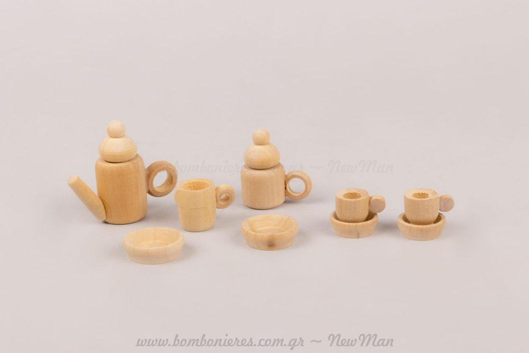 Ξύλινο σετ μιναιτούρες καφέ