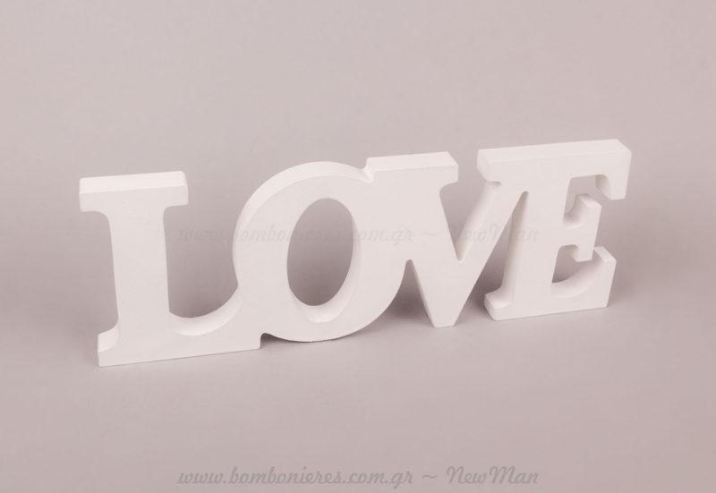 LOVE ξύλινο λευκό
