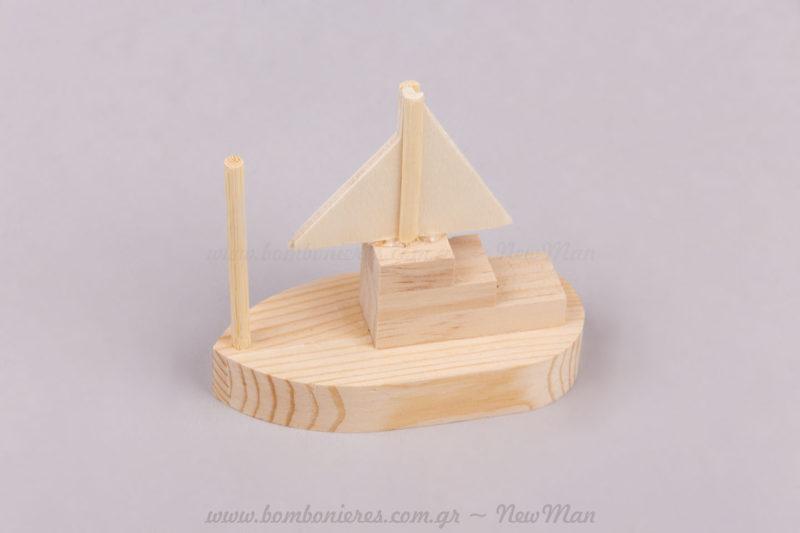 Ξύλινο natural διακοσμητικό καράβι