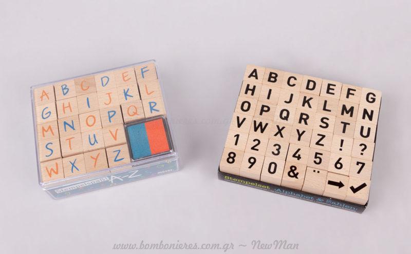 Ξύλινες σφραγίδες αλφάβητο